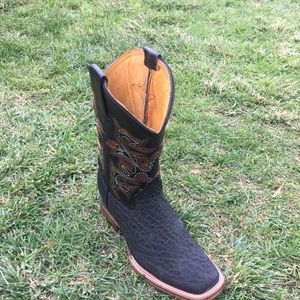MEN'S RODEO COWBOY BOOTS BULL NECK LEATHER BLACK